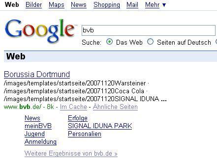 Seltsame Beschreibung der BVB - Homepage