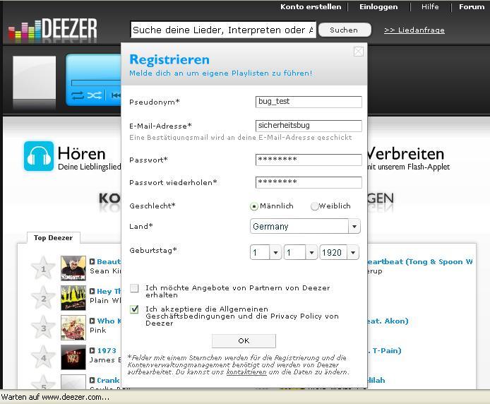 Anmeldung bei www.deezer.com mit falscher eMailadresse