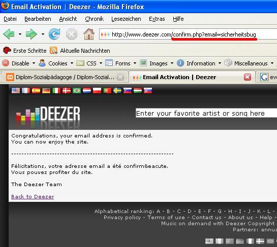 Bestätigung von deezer.com über die registrierte eMailadresse