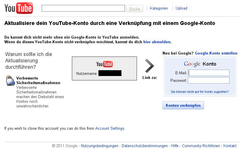 youtube neu anmelden