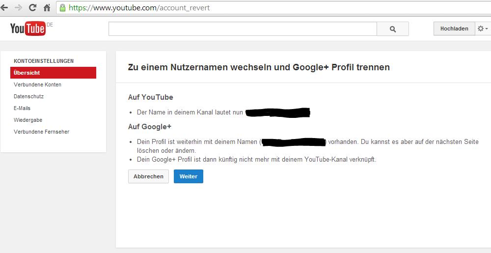 Youtube Account von Google Plus Account trennen