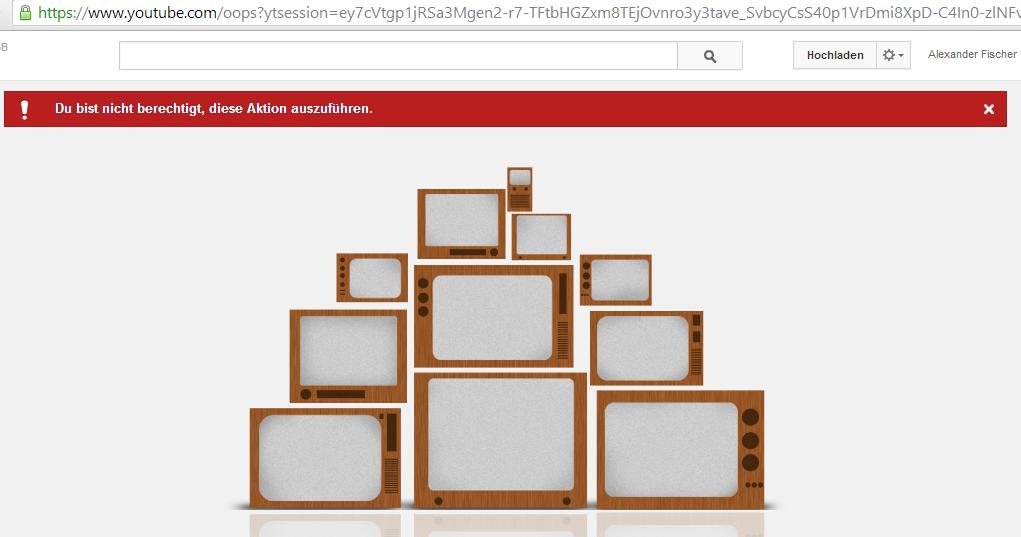 Youtube Account von Google Plus Account trennen - Fehlermeldung