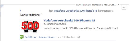 Fake: Vodafone verschenkt 500 iPhone 4s an Facebook-Nutzer