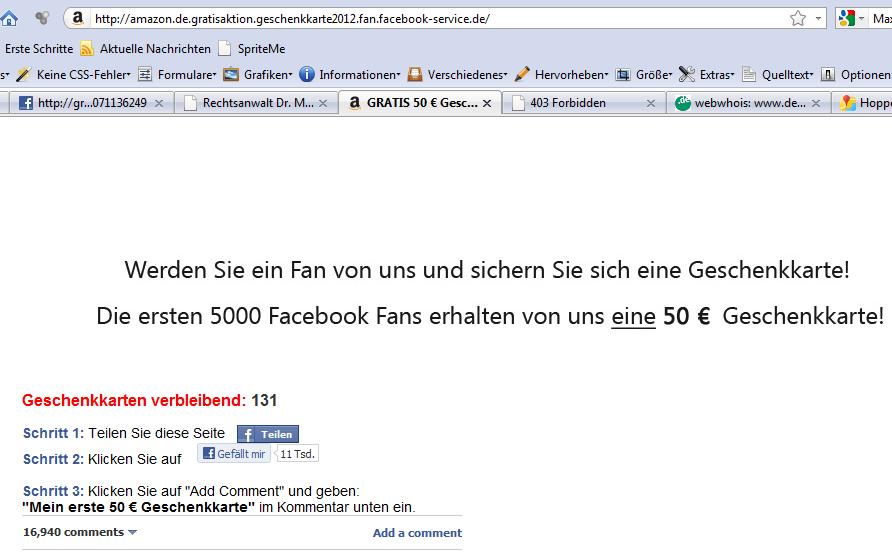50euro Amazon Gutschein nur für facebook Fans Fake Gewinnspiel Screenshot