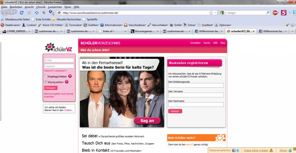 FAKE: Screenshot der SchuelerVZ - Loginseite - www_xsxcxhxuxexlxexrxvxz_zustimmen_de