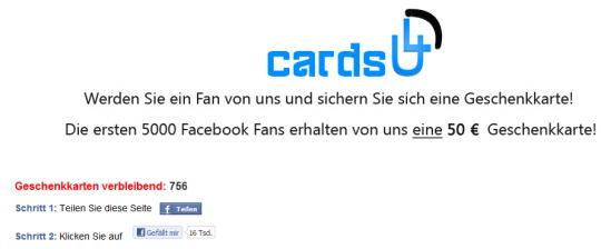Cards4u Facebook Fake Gewinnspiel Geschenkkarte 50€