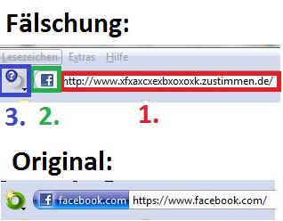 Facebook Fälschung erkennen im Vergleich zur Original-Seite