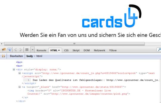 Quelltext mit verstecktem Counter von ipcounter.de