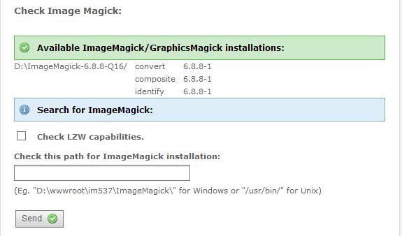 Typo3 ImageMagick unter Windows 8 installieren: Pfad korrekt gesetzt