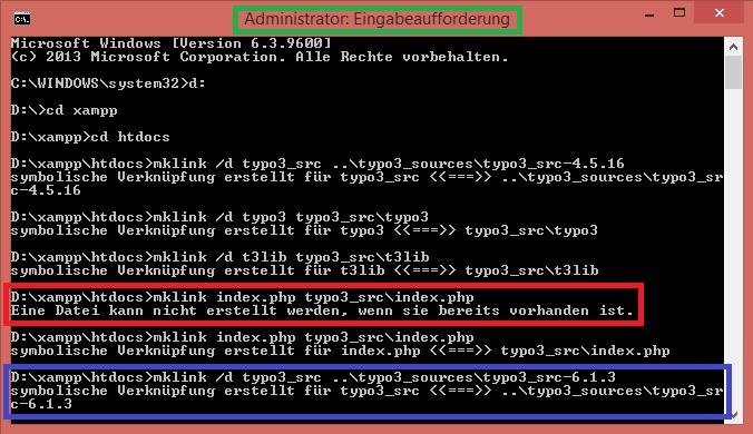 Typo3 Symlinks setzen unter Windows 8