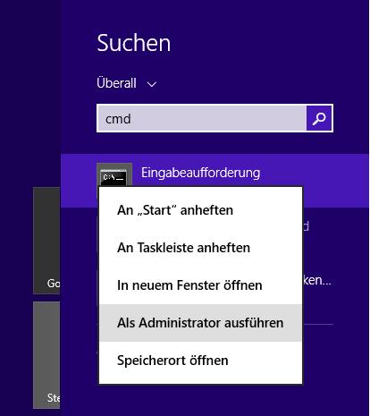 Windows 8: Eingabeaufforderung als Administrator starten
