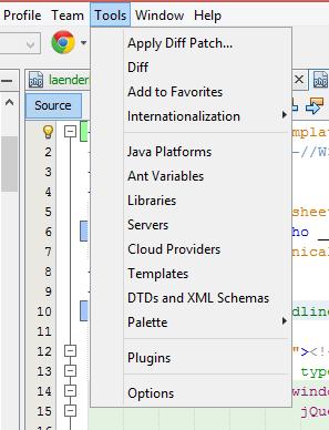 Netbeans: eigene Dateierweiterungen hinzufügen für Syntax-Highlighting: Tools --> Options auswählen