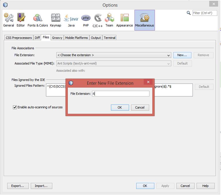 Netbeans: eigene Dateierweiterungen hinzufügen: Dateiendung eingeben