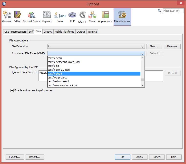 Netbeans: eigene Dateierweiterungen hinzufügen: MIME-Type für Dateiendung auswählen