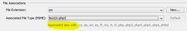 Netbeans: eigene Dateierweiterungen hinzufügen: bereits hinzugefügte Dateiendung für den ausgewählten MIME-Typ