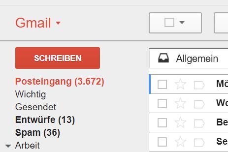 Gmail-Postfach Stand Juli 2017: über 3.700 ungelesene Emails