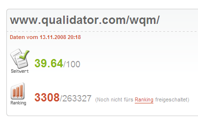 Seitwert.de testet qualidator.com